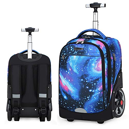 QINQIGBJ 20 inches Large Storage Multifunction Waterproof Travel Wheeled Rolling Backpack for Adults and School Students,Books Travel Bag (Color : Starry Sky Blue B)