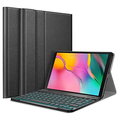 Fintie Tastatur Hülle für Samsung Galaxy Tab A 10.1 2019 SM-T510/T515 - Schutzhülle mit [Hintergr&beleuchtung in 7 Farben] magnetisch Abnehmbarer drahtloser Deutscher Bluetooth Tastatur, Schwarz