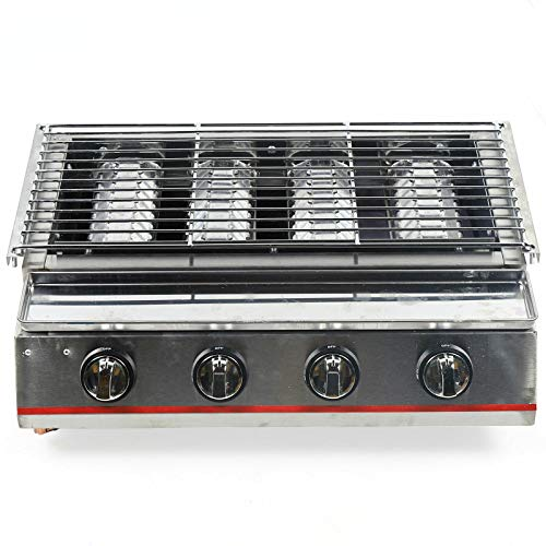 4 Burner Gas Grill Outdoor Tabletop Gas BBQ Grill Commercial 2800Pa Stainless Steel Gas Grill for Camping Picnicking (4-Burner) Grills Propane