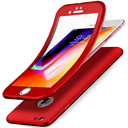 Kompatibel mit iPhone 6S Hülle,iPhone 6 Hülle,Full-Body 360 Grad Panzerglas Schutzfolie TPU Silikon Hülle Handyhülle Tasche Case Front Back Double Beidseitiger Cover Schutzhülle für iPhone 6S/6,Rot
