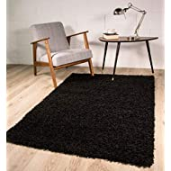 The Rug House Thick Modern Small Medium Soft Anti Shed Vibrant Shaggy Rugs (Black 60 x 110 cm)