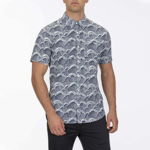 Hurley M Waves S/S Camisa, Hombre, White, XL