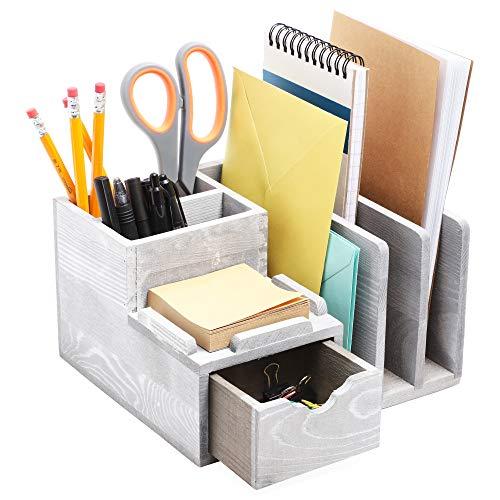 Organizador de escritorio de madera (gris, 4,7 x 20,3 cm