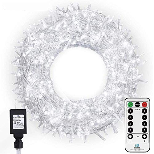 Ollny Outdoor Christmas String Lights 800 LED 330FT with Remote, Waterproof Cool White Plug in Fairy Light, 8 Modes Timer Twinkle Lighting for Bedroom Indoor Xmas Tree Holiday Wedding Party Decoration