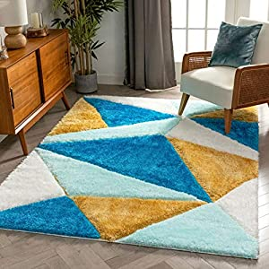 Well Woven Walker Blue Triangle Boxes Thick Soft Plush 3D Textured Shag Area Rug 5×7 (5'3″ x 7'3″)