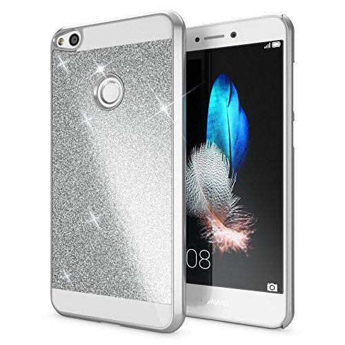 NALIA Handyhülle kompatibel mit Huawei P8 Lite 2017, Glitzer Hard-Case Back-Cover Schutz-Hülle, Handy-Tasche im Glitter Sparkle Design, Dünnes Bling Strass Etui Smart-Phone Skin, Farbe:Silber