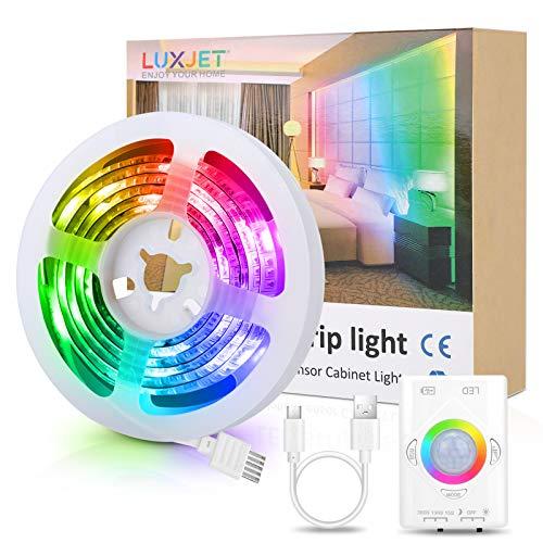 1M LED Streifen mit Bewegungsmelder RGB – Wiederaufladbar Mehrfarbig Nachtlicht Streifen Bewegungssensor Lichtleiste , Farbwechsel LED Band,Stimmungslicht für dekorative Beleuchtung, Party, Zuhause