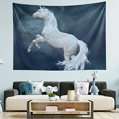 Nobranded Wandteppich, Wandbehang, Raumdekoration – Erdeinhorn, Weltraum, großer Wandteppich für Schlafzimmer, Wohnzimmer, 152 x 127 cm