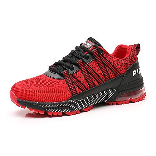 Zapatos para Correr Hombre Mujer Air con Absorción de Impactos de Aire Zapatillas de Deportes Sneakers Gimnasio Entrenamiento al Aire Libre Red39