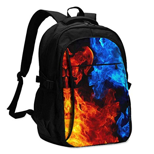 HOIH Ice and Fire Student College Bag, Fits For13,16 Inch Laptop USB Charging Port Traveling Backpack