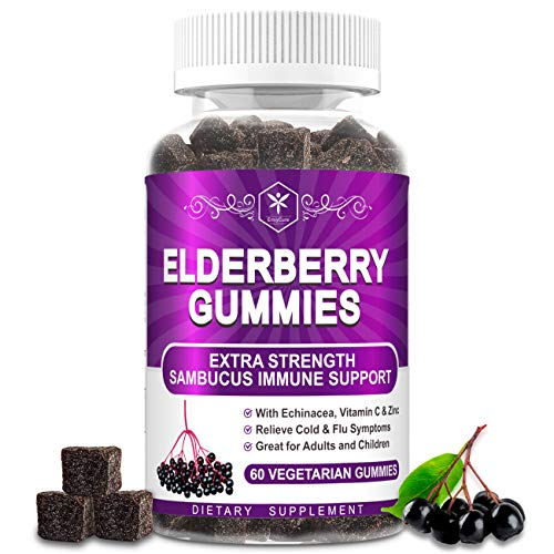 Organic Elderberry Gummies for Adult Kid + Vitamin C, Zinc, Echinacea - Winter Immune Support - Vegan Sambucus Black Elderberry Syrup Chewable Gummy Immune System Booster Antioxidant Herbal Supplement