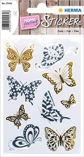 HERMA 15561 - Pegatinas creativas de mariposas de oro y plata para niños, niñas, niños, bodas, cumpleaños, regalos, álbum de fotos, 9 pegatinas