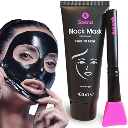 Das ORIGINAL - SOENA® Black Mask + MASKENPINSEL | XXL Tube 100 ml | Entfernt Mitesser – Peel-Off...