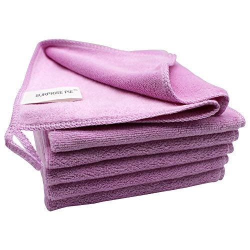Microfiber Clothes for House Cleaning Soft Pink Pack of 6 Towels Bulk Reusable Rags Scratch Free Polishing Cloth Auto Window Cleaners Furniture Dust Cloths 2PCS Screen Cloth as Gift