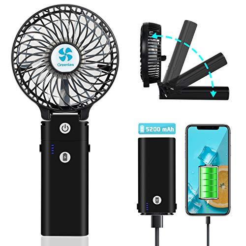 Earto Handventilator Tragbarer mit Powerbank-Funktion, USB Ventilator Leise Mini Lüfter mit 5200 mAh aufladbarer Batterie Akuu, Personal Fan starker Wind Fan zubehör für Reise/Indoor (schwarz)