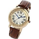ディズニー腕時計 レディース時計 かわいい ミッキー クリスタル カジュアル ウォッチ disney003 (ピンクゴールド×ブラウン)
