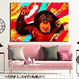 Geiqianjiumai Animal Gorila Colorido póster lienzos Modernos y póster Pared Arte Sala sin Marco Pintura 30x45cm