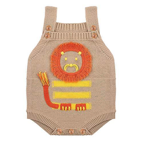 MAYOGO Ropa de Bebé Crochet Mameluco sin Manga Bodis Ropa bebé Leon Estampado Body Bebé Niño Recién Nacido Mono de Punto Ropas de Invierno para Bebes Niñas 0 a 3 Meses, 0-2 Años