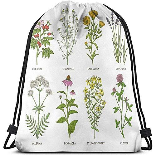 Mei-shop Kordelzug Rucksack Unisex BagSweet Naturkosmetik Blumen mit Namen Dog-Rose Kamille Calendula Lavender