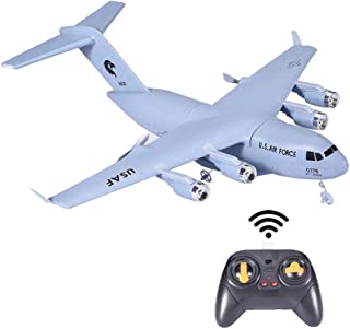 ASfairy-Toy C-17 2.4GHz 2CH RC Airplane RTF Three Axis Gyroscope Powerful Motor EPP Material Simulation Remote Control Airplane for Kids 14+ Years Old, Easy for Beginners