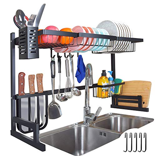 Over The Sink Dish Drying Rack Adjustable 2-Tier Large Premium Dish Drying Rack Kitchen Organizer Storage Stainless Steel Utensil Holder with 5 Hook Dish Drainer 32≤ Sink Size ≤ 395 inch