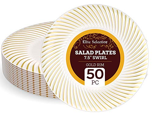 """Disposable Plastic Salad Plates - 50 Pack 7.5"""" Cream Plate with Elegant Gold Swirl Rim Design for Wedding, Birthday, Dinner Party - by Elite Selection"""