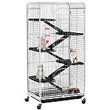 Yaheetech Cage pour Rongeurs Blanche 64 x 44 x 131 cm Cage pour Furets/écureuils/Chinchillas