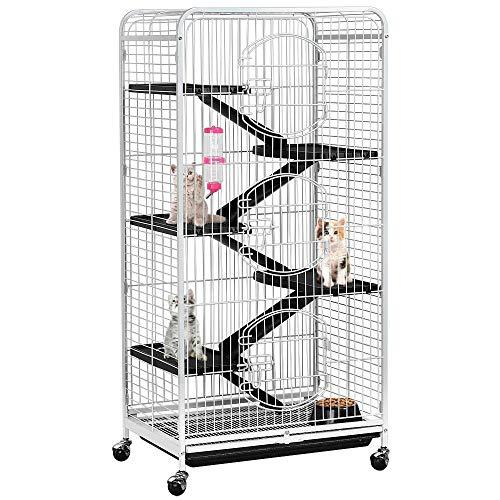 Yaheetech Cage pour Rongeurs Blanche 64 x 44 x 131 cm...