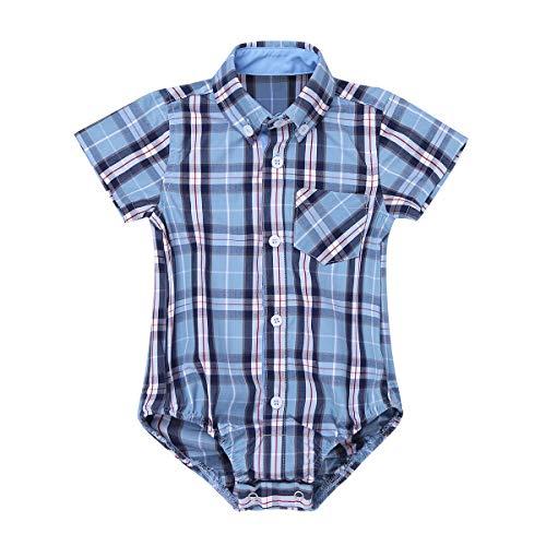 inlzdz Bebé Mono Camisa Cuadros de Verano Mameluco Manga Corta Body con Bolsillo Pelele de Algodón Suave Playsuit Infantil Ropa para Niños 0-24 Meses Cielo Azul 24 Meses