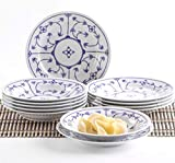 Kahla 160620O75019H Blau Saks Geschirrset Porzellan Tafelservice Tellerset für 6 Personen 12-teilig Suppenteller 22 cm Speiseteller 23,5 cm Teller Set...