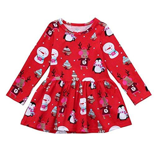 Huhu833 Kleinkind Kind Baby Mädchen Weihnachten Kleidung Langarm Pageant Party Prinzessin Kleid (Rot, 4T-110CM)