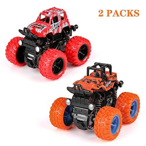 BBLIKE Geländewagen Auto Spielzeug Set, 2 Stück Monster Truck Spielzeug, Offroad Trägheits-Geländewagen mit Allradantrieb Steht auf und dreht Sich, ab 3/4/5/6 Jahren