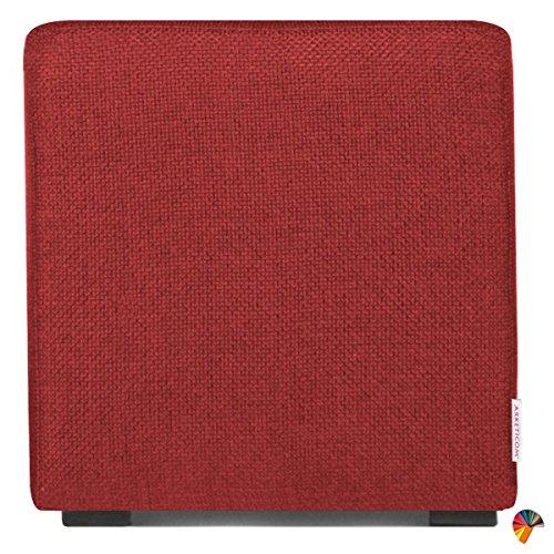 Arketicom Cube Pouf Poggiapiedi Salotto Puff CUBO TAPPEZZATO Rosso Scuro 35x35