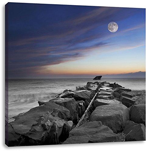 Stenen muur aan de kustCanvas Foto Plein | Maat: 60x60 cm | Wanddecoraties | Kunstdruk | Volledig gemonteerd