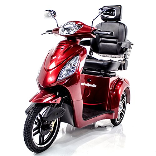 eWheels EW-36 Recreational Electric Mobility Scooter for Adults, Fast, Long Range, Red, Challenger Mobility Accessories Included