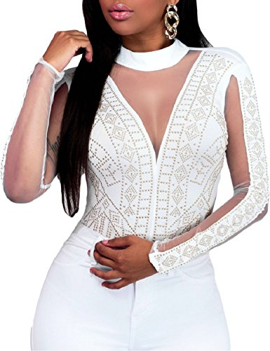 SEBOWEL Damen Sexy Strass Mesh Body Club Party Langarm Bodysuit Bluse Tops, #15 White, L