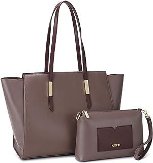 Kattee Genuine Leather Tote Purses and Handbags for Women, Shoulder Bags Crossbody Hobo 2pcs Purse Set