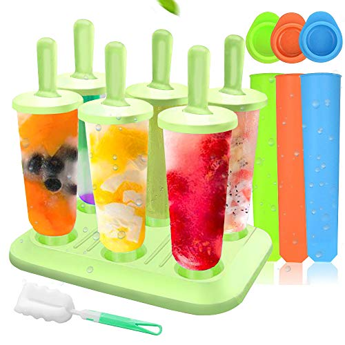 MMTX 6 Eisformen Popsicle Formen EIS am Stiel BPA Frei Set,3 Stück Eislutscher Popsicle Formen, LGFB Geprüft und Bra Frei, mit Reinigungsbürste. …