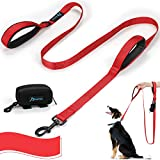PuppyDoggy Correa de perro con doble asa de 1.8 m de largo para perros grandes y medianos hilos reflectantes con dos asas acolchadas de tráfico y dispensador de bolsa de caca para caminar