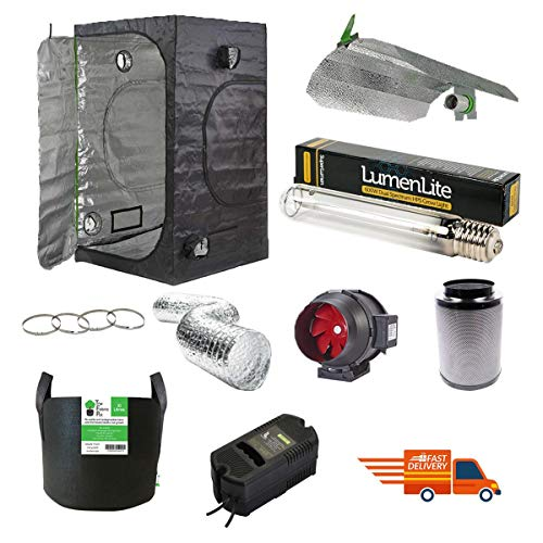 Complete Professional Grow Tent Kit 1m x 1m x 2m with 600w Dual Spectrum Light Kit/Twin Speed Odour Neutralising Filter Kit / 4X Fabric Pots
