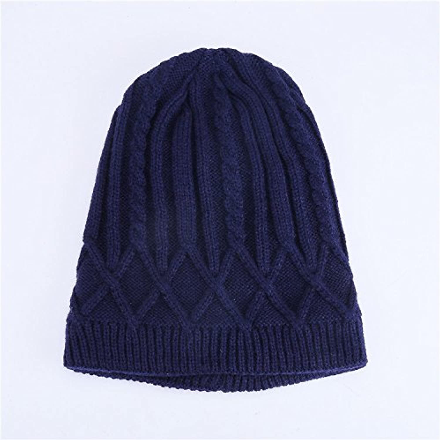 NWEC Autumn and winter lady cashmere thickening warm pure color set head knitted cap 5658cm