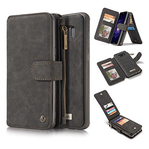 Para Samsung Galaxy S8 Plus 2 en 1 caja de la billetera, 13 tarjetas de tarjetas Magnético desmontable Folio Folio Folio Titular de la tarjeta de cuero con estuche de soporte de la tarjeta Slim Slim T