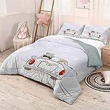 Helloleon - Juego de 3 fundas de edredón y 2 fundas de almohada, diseño retro con texto en inglés 'Just Married', color plateado y rojo y blanco