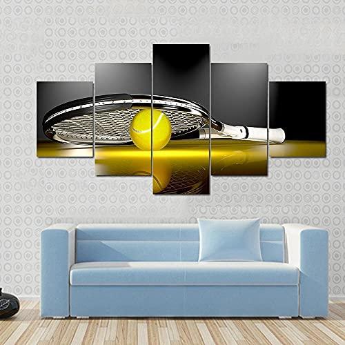 5 Paneles Decorativos Pintura Decoración Raqueta tenis pelota tenis Impresión artística Decoracion de Pared Moderno Impresión de Imagen Pósteres