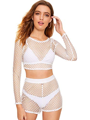 SweatyRocks Women's Sexy 2 Pieces Fishnet Crop Top with Shorts Outfit Set White L