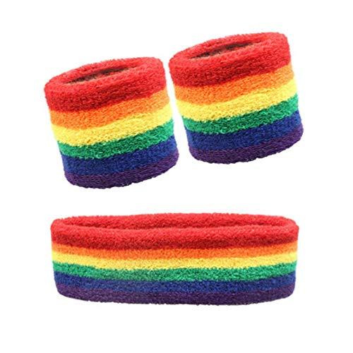 Rainbow Sports Diadema y banda para el sudor, juego de brazaletes deportivos para mujer, unisex, hombre