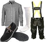 ALL THE GOOD S3 Trachtenset (Hose +Hemd +Schuhe +Socken) Bayerische Lederhose Trachtenhose Oktoberfest Leder Hose Trachten (Hose 54 Hemd 42/43 Schuhgröße per Email)