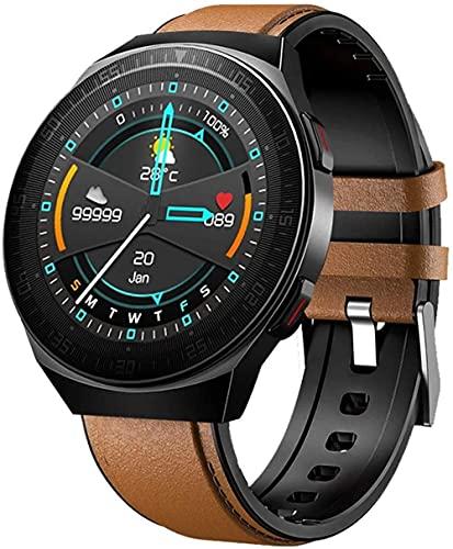 Reloj Inteligente 1.28 Pulgadas Pantalla Fitness Tracker Deportes Podómetro Pulsera Bluetooth Llamada Grabación Digital Mensaje Push Recordatorio Inteligente-Marrón/Cuero