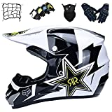Aidasone Casque Motocross Enfants, Casques de Descente Enduro Set (4 pièces), Casque VTT Intégral, Casque de Moto Cross Adulte pour la Dirt Quad Bike Racing - avec Fox Design,L