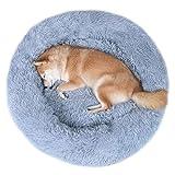 VIVAGLORY <span class='highlight'>Dog</span> Bed, Super Soft Plush Self-Warming <span class='highlight'>Dog</span> Calming Cuddler Bed, Machine Washable, Suitable <span class='highlight'>for</span> Cats & <span class='highlight'>Medium</span> <span class='highlight'>Dog</span>, Mist Grey, Dia.92cm x H 20cm